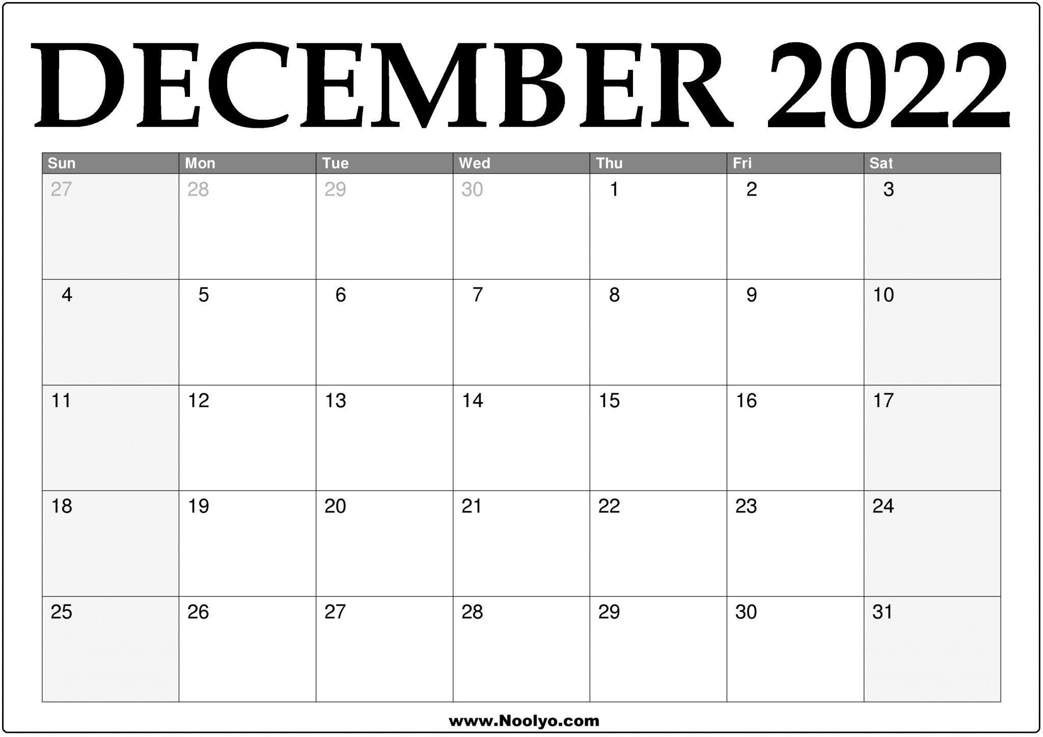 2022 December Calendar Printable - Download Free - Noolyo.com
