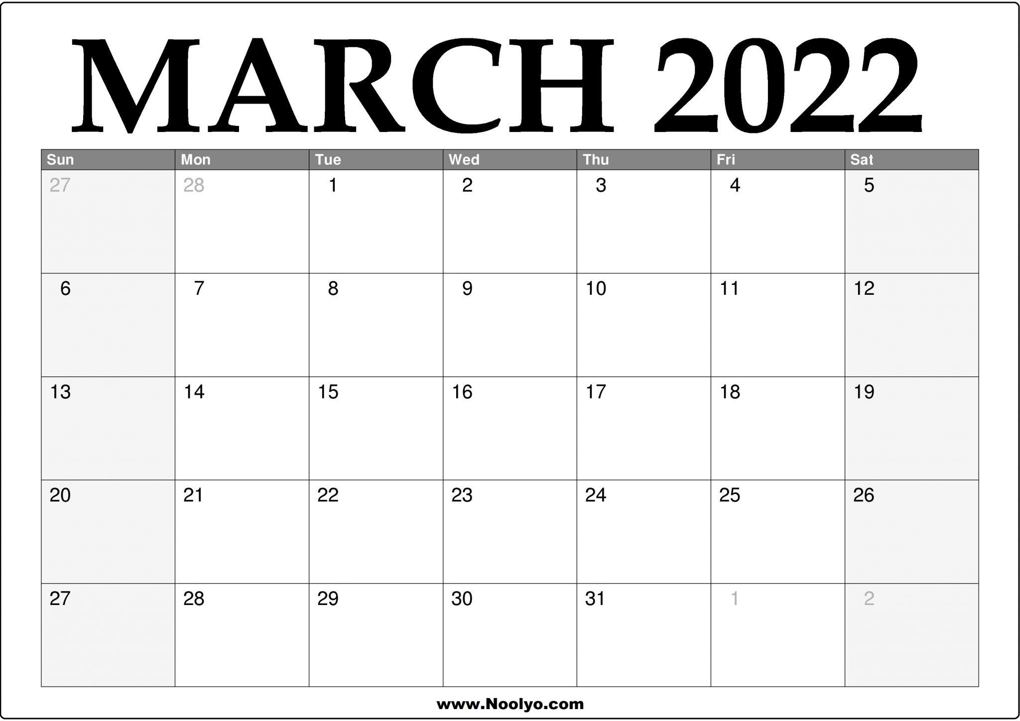 2022 March Calendar Printable - Download Free - Noolyo.com