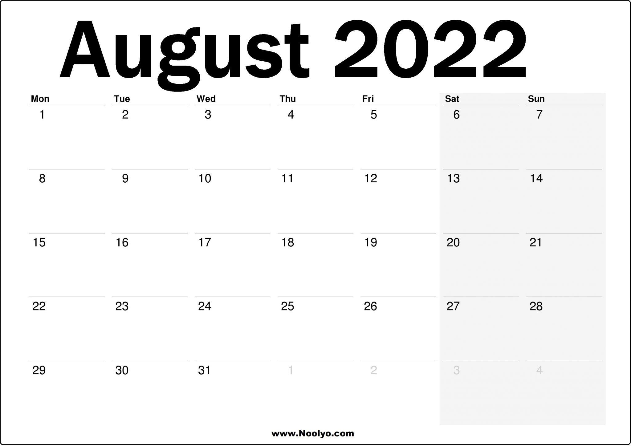 2022 UK August Calendar Printable - Noolyo.com