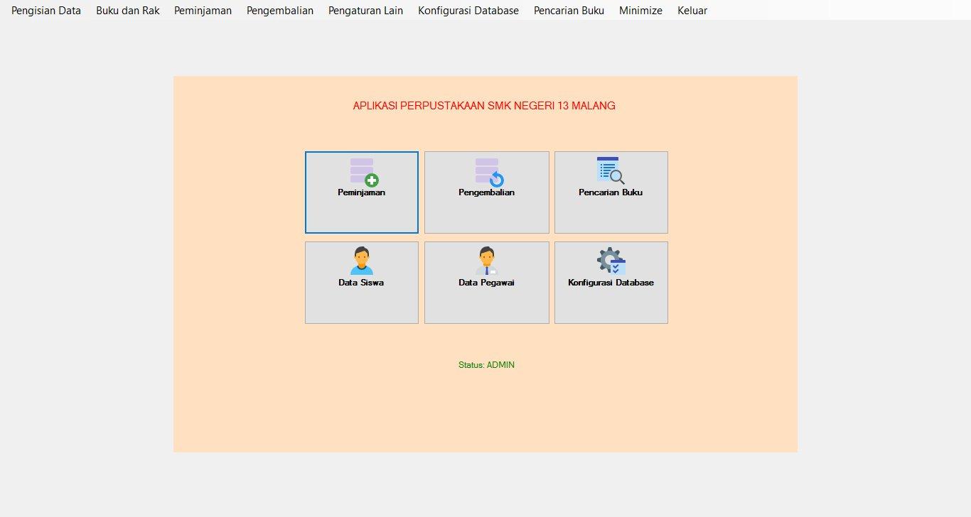 Form Menu Aplikasi Perpustakaan Sekolah Gratis