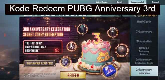 Kode Redeem PUBG Anniversary 3