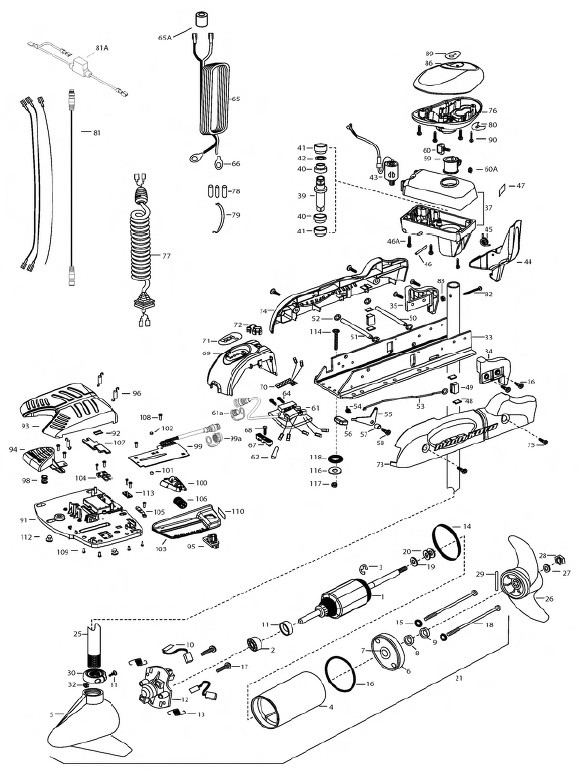 Spare parts for Powerdrive 70Minn Kota engine
