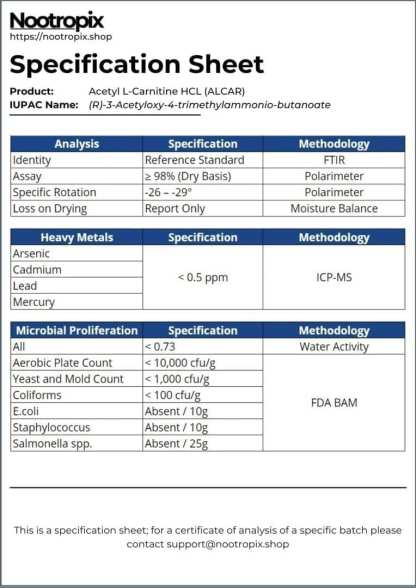 ALCAR Specification Sheet for Nootropix Dubai UAE