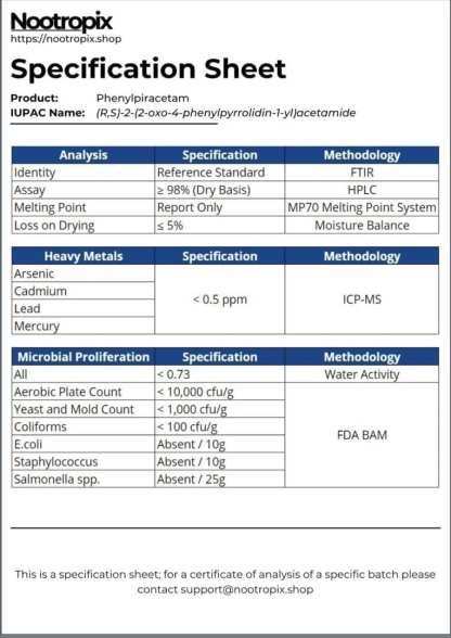 Phenylpiracetam Specification Sheet for Nootropix Dubai UAE