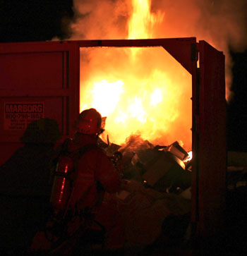 santa barbara firefighters battle a fire that broke out monday night in a construction site
