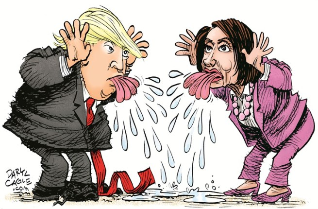 Image result for Cartoon of Trump & pelosi