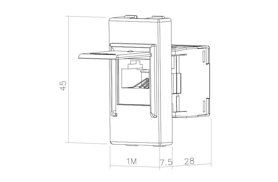 Socket-outlet RJ45 Cat 5e UTP 1M