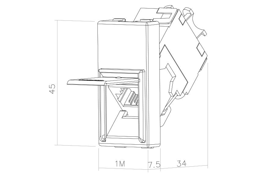 Socket-outlet RJ45 Cat 5e STP 1M