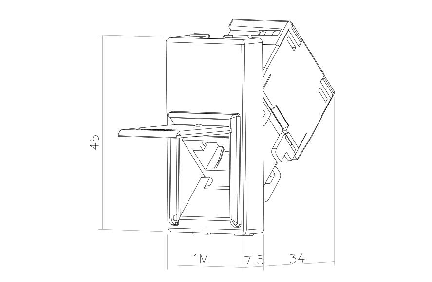 Socket-outlet RJ45 Cat 6 UTP 1M