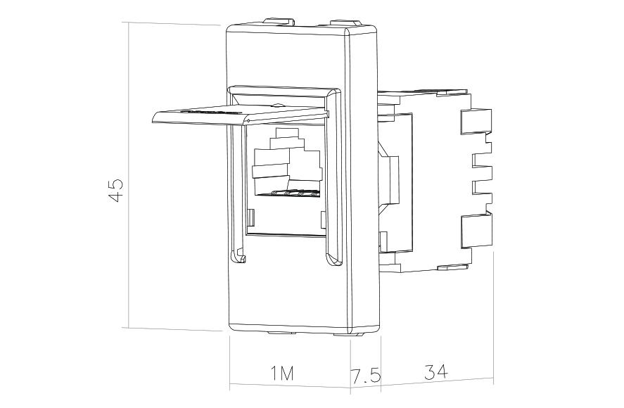 Socket-outlet RJ45 Cat 6a STP 1M