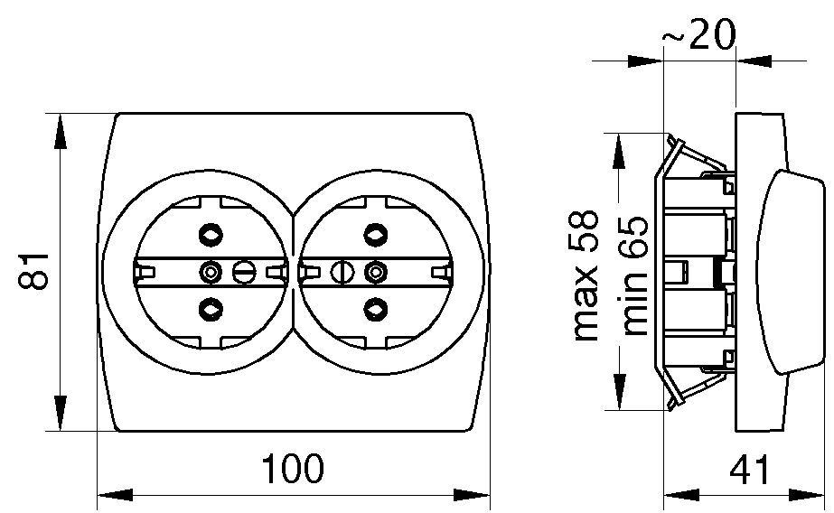 Socket-outlet, double