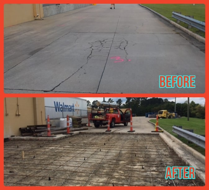 Before After Concrete Repair at Walmart