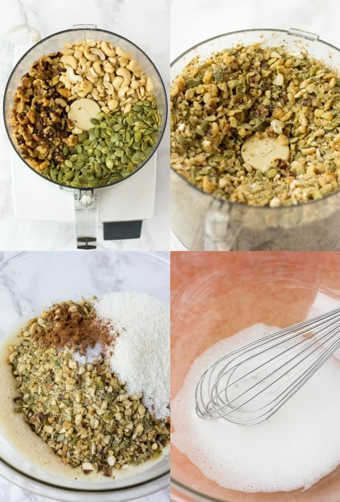 grain free granola steps on how to put it together collage