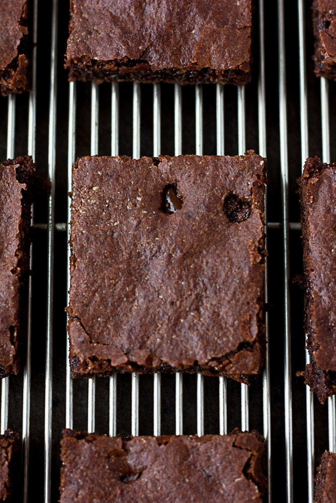 chewy vegan brownies, one on the plate
