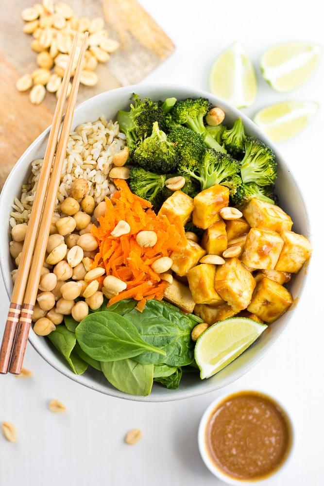 looking down on a peanut tofu buddha bowl