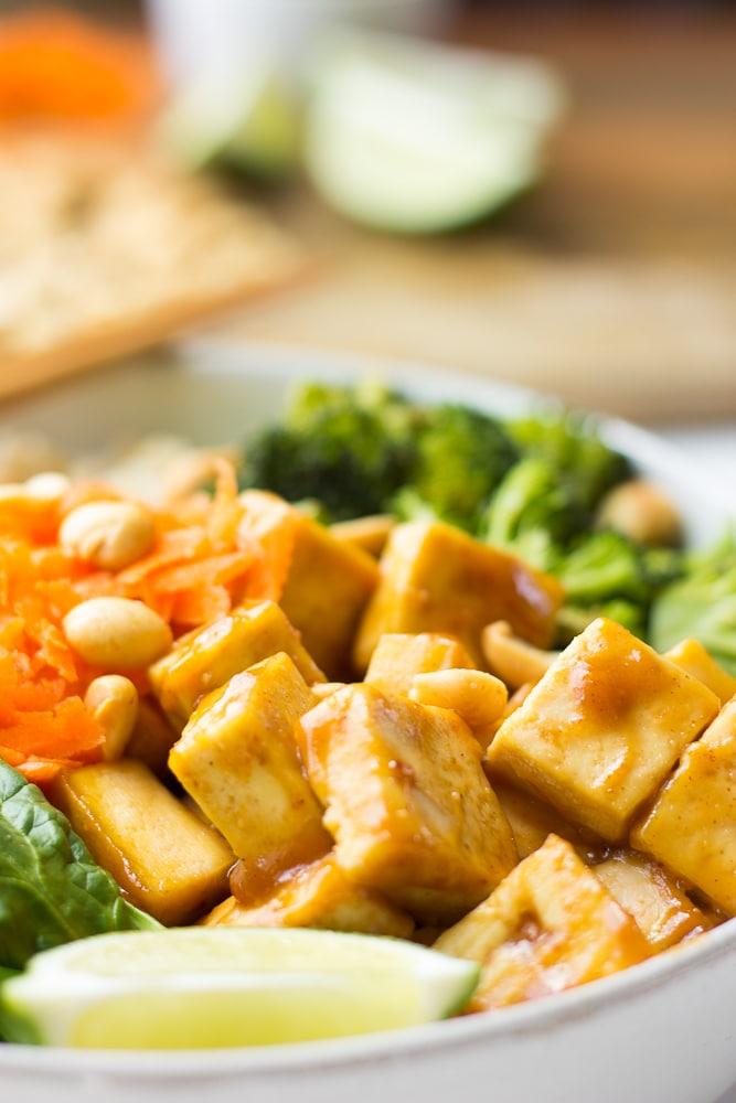 close up of peanut tofu buddha bowl