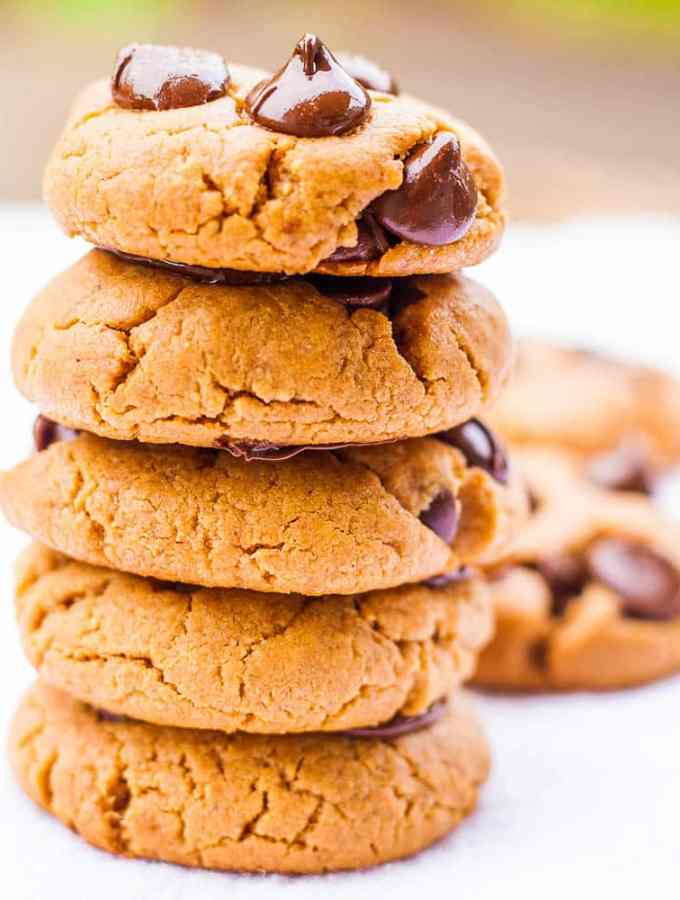 Oil Free Peanut Butter Chocolate Chip Cookies
