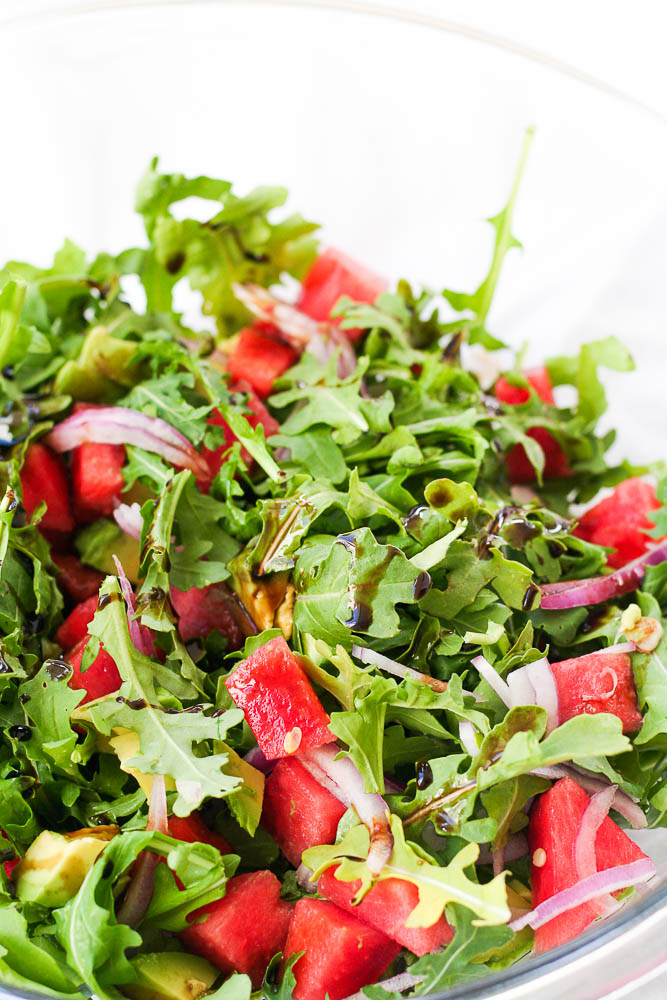 Watermelon Arugula Salad with avocado and balsamic.