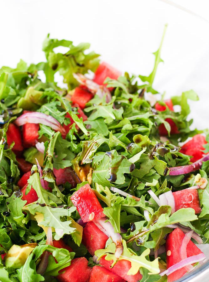 Watermelon Avocado Arugula Salad