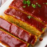 Classic-style vegan meatloaf with chickpeas.