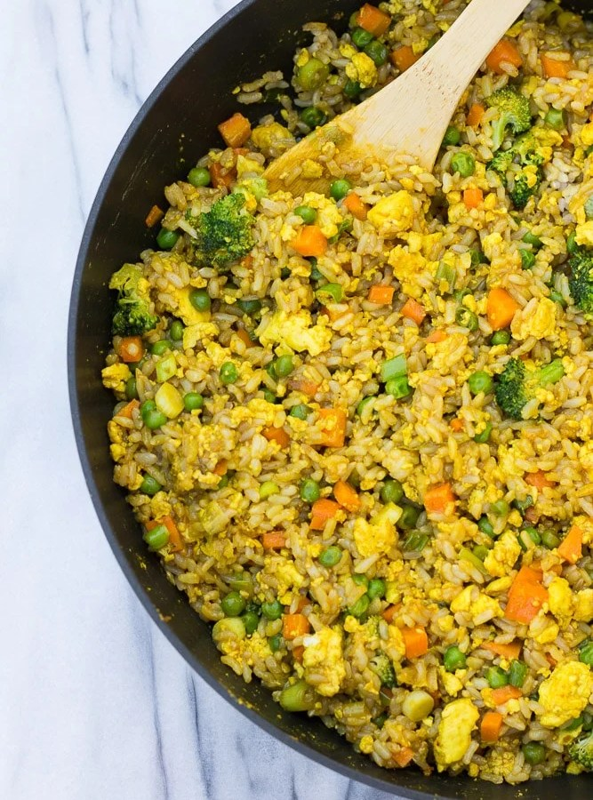 Golden Fried Rice with Scrambled Tofu