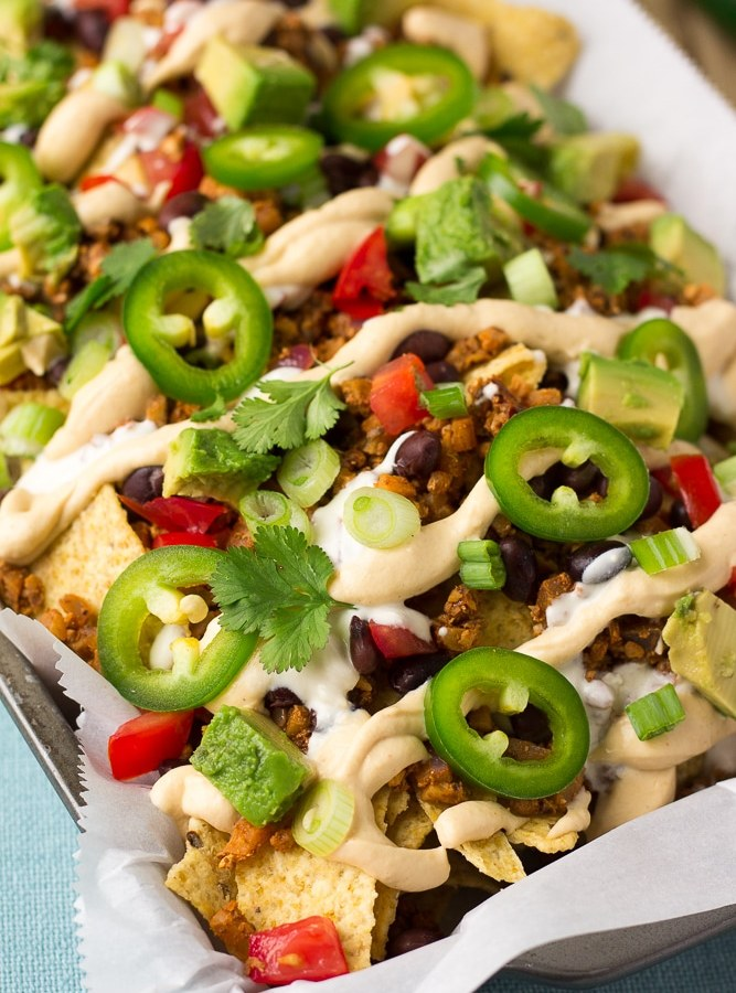 close up of vegan nachos