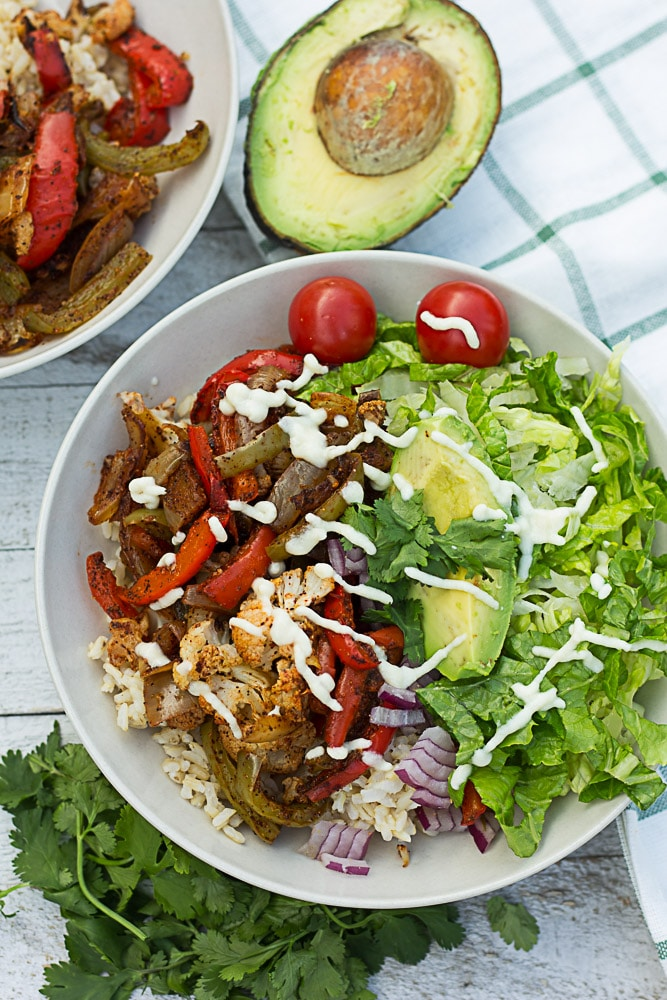 Cauliflower Fajita Mexican Bowl | Nora Cooks