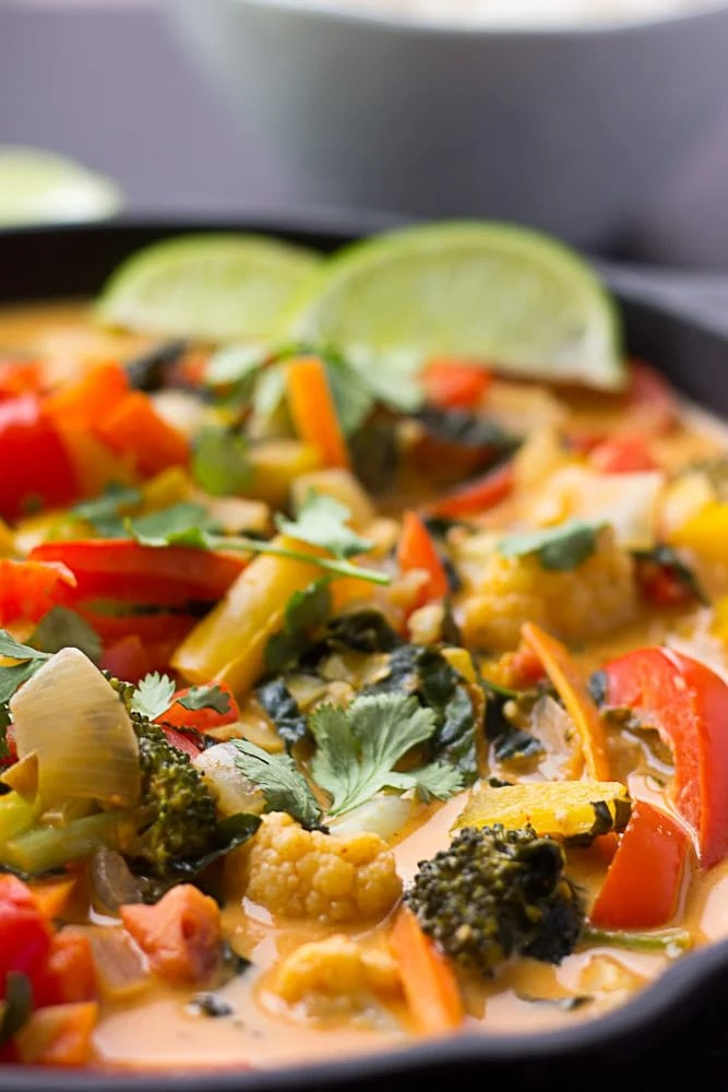 Looking from the side close up of Red Thai Curry Vegetables
