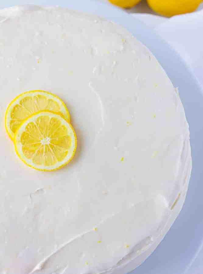 whole vegan lemon cake, close up