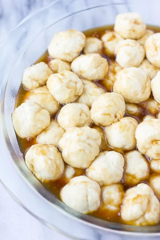 balls of dough for caramel monkey bread
