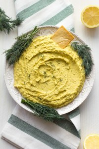 lemon dill hummus on a plate