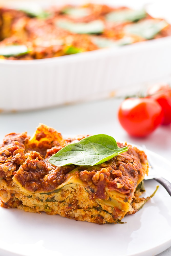 vegan lasagna on a plate, cut