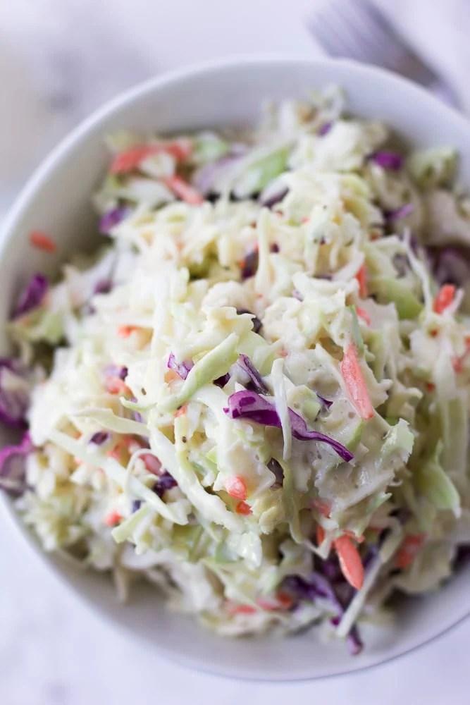 vegan coleslaw closeup in a bowl