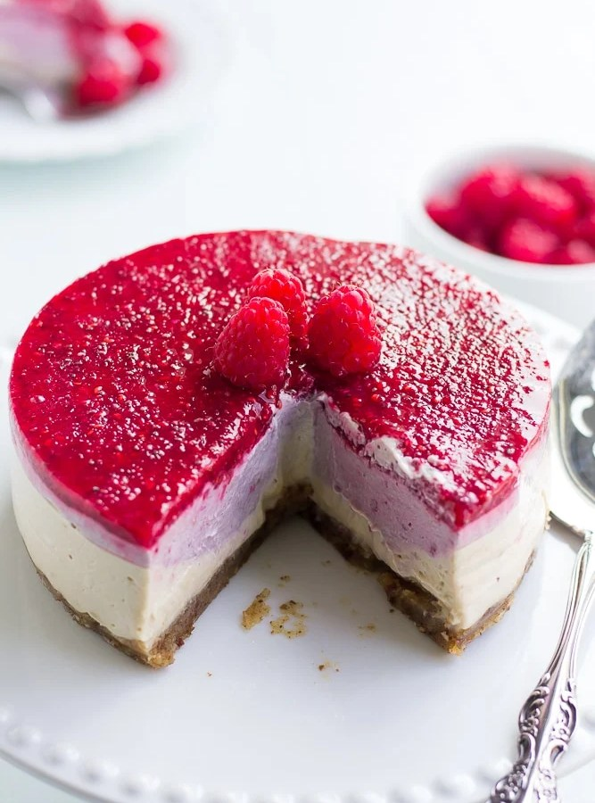 No-Bake Layered Raspberry Vegan Cheesecake