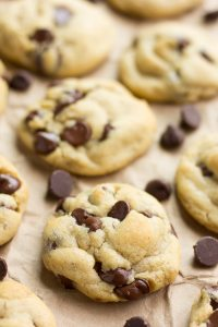 close up of vegan chocolate chip cookies