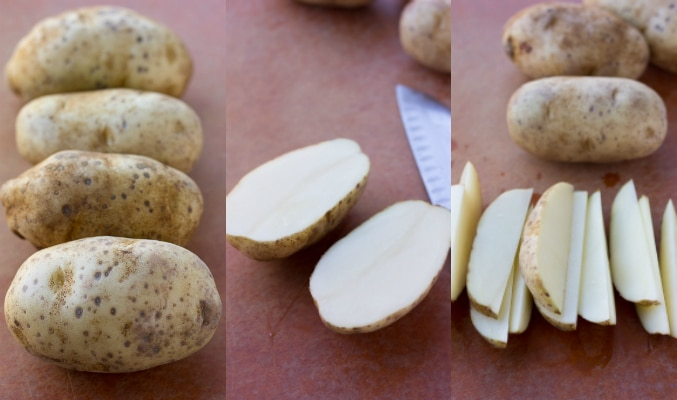 collage of how to cut potato wedges