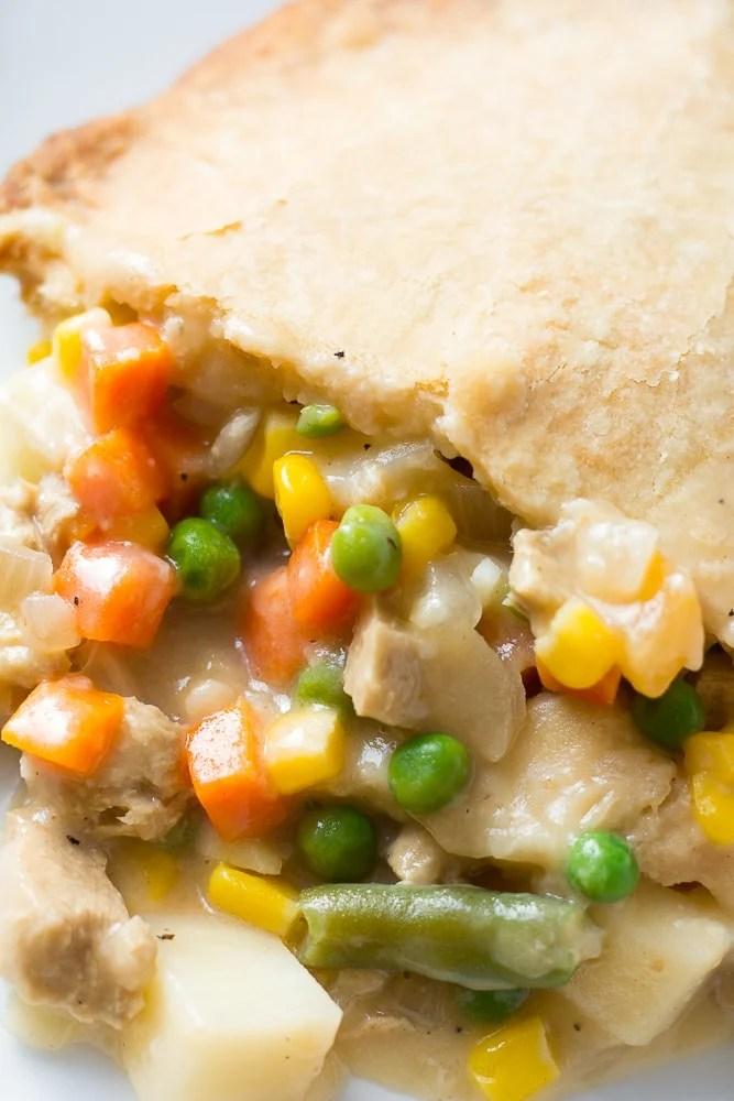 close up of vegan pot pie