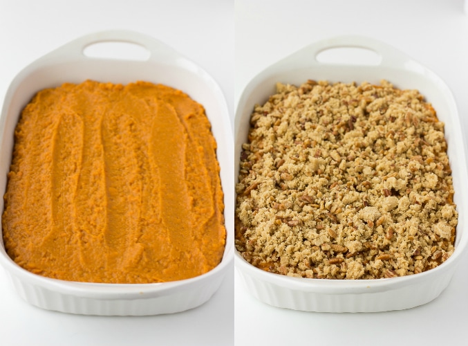 collage of vegan sweet potato casserole, uncooked
