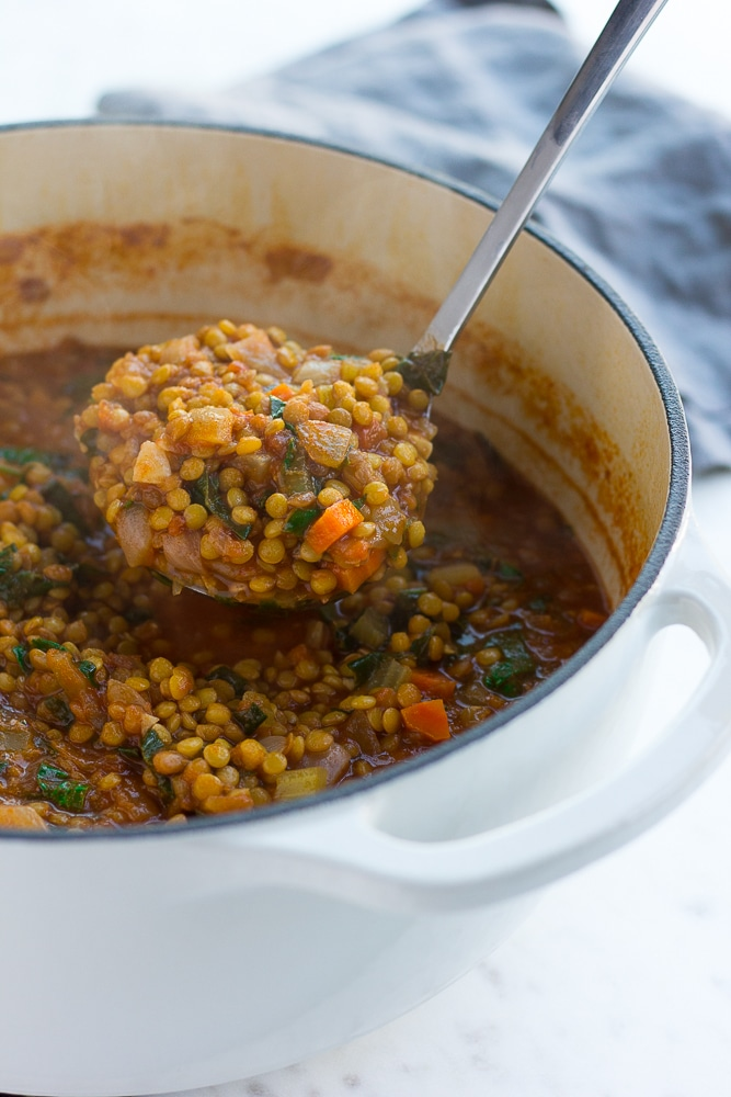 vegan lentil soup in a pot with a ladle