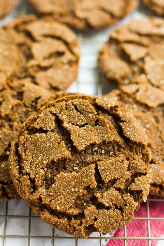 close up of vegan ginger cookies on a rack