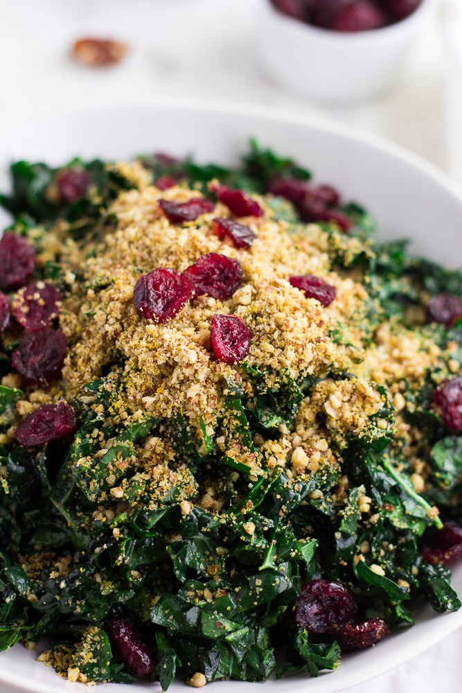 close up photo of festive kale salad