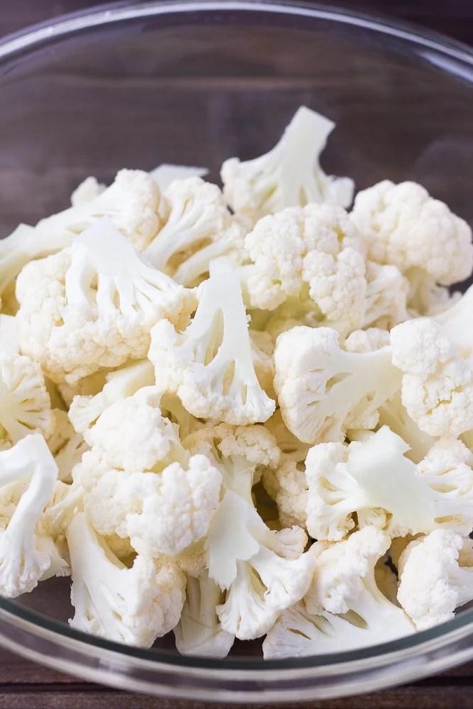 bowl of raw cauliflower for bbq cauliflower wings