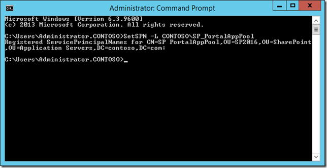 Command Prompt - SetSPN -L