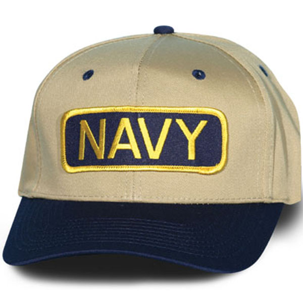 Navy Letter Bar Khaki with Navy Blue Bill Ball Cap  North