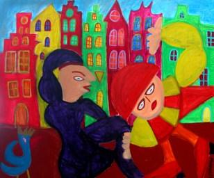 397 Het Grachtenfeest 2, 2008, 100 x 120, acryl op linnen, 750,-