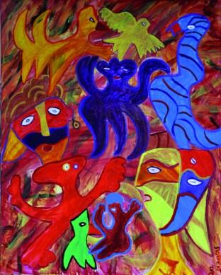 344 Opstand van Octopus, 2012, 80 x 100, acryl