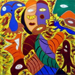350 Spaans dierenrijk, 2002, 90 x 90, acryl