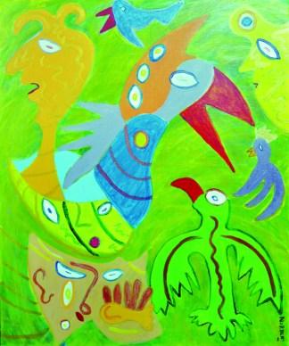328 De verdwaalde phoenix, 2001, 120 x 100, acryl
