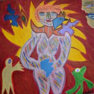 342 Vogelgevecht nr. 3, 2002, 100 x 100 acryl, 650,-