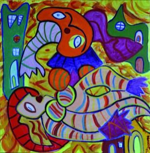352 Vrouw in Calosa, 2002, 90 x 90, acryl, 550,-